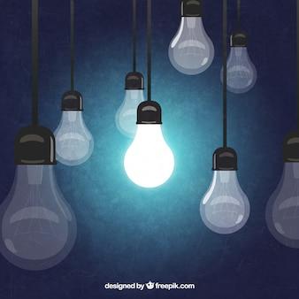 Hand gezeichnet hängenden glühbirnen