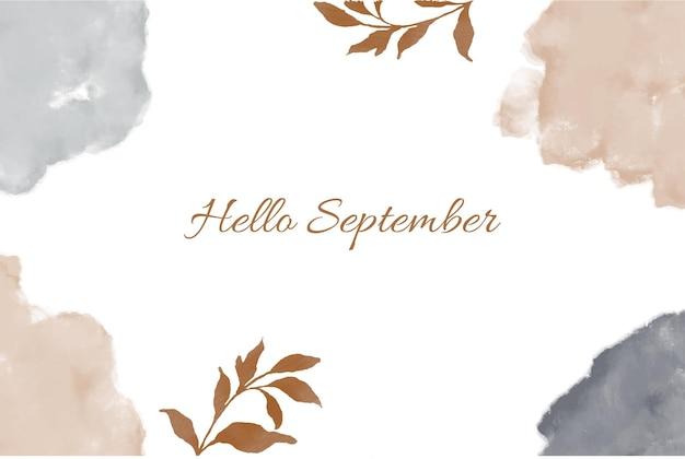 Hand gezeichnet hallo september hintergrund kostenlosen vektoren