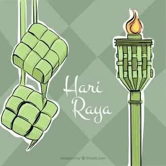 Hand gezeichnet Hari Raya Hintergrund