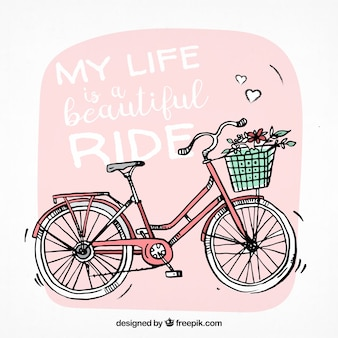 Hand gezeichnet hintergrund mit niedlichen fahrrad