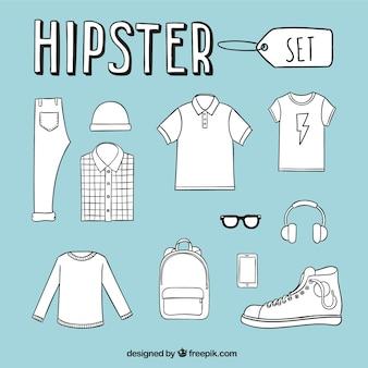 Hand gezeichnet hipster herrenbekleidung
