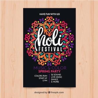 Hand gezeichnet holi festival poster