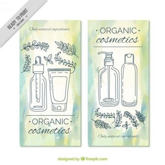 Hand gezeichnet hübsch naturkosmetik broschüre