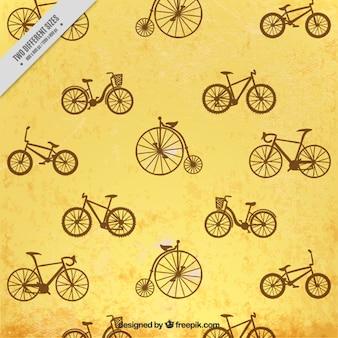 Hand gezeichnet jahrgang fahrräder hintergrund