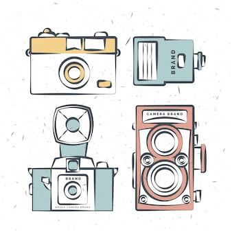 Hand gezeichnet jahrgang kameras in den farben