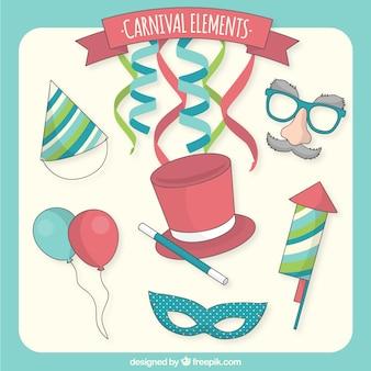 Hand gezeichnet karneval elemente