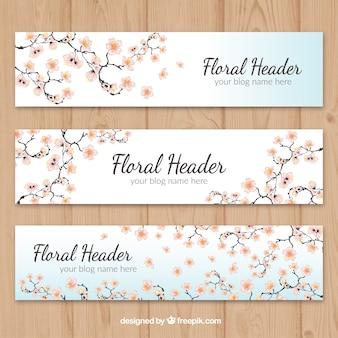 Hand gezeichnet kirschblüte headers