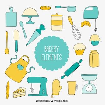 Hand gezeichnet küchengeräte für bäckerei