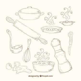 Hand gezeichnet küchenwerkzeuge im retro-stil