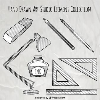 Hand gezeichnet künstlerische elemente
