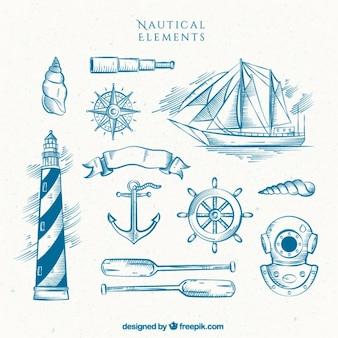 Hand gezeichnet leuchtturm mit boot und andere segler elemente