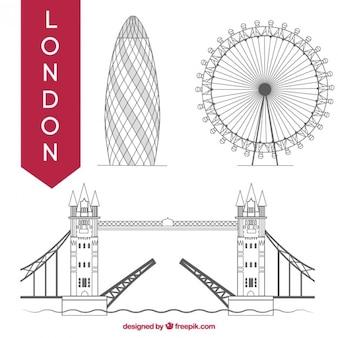 Hand gezeichnet london denkmäler