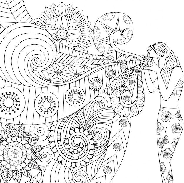 Hand gezeichnet mädchen hintergrund
