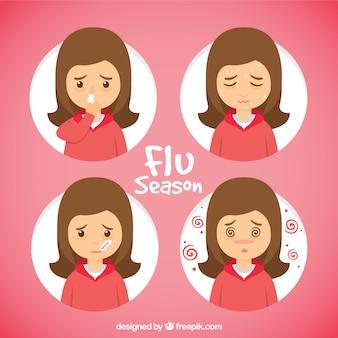 Hand gezeichnet mädchen mit grippe-symptomen