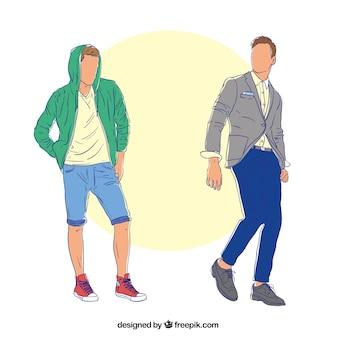 Hand gezeichnet männliche models