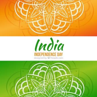 Hand gezeichnet mandalas hintergrund von indien unabhängigkeit tag