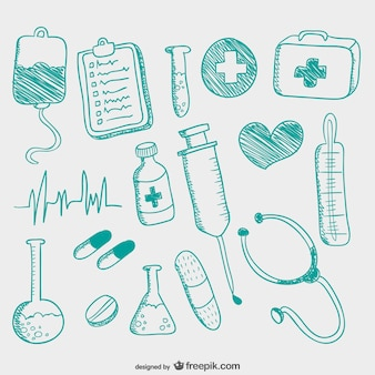 Hand gezeichnet medizinischen symbole