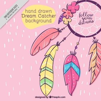 Hand gezeichnet ornamentalen hintergrund mit traumfänger