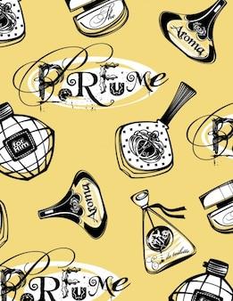 Hand gezeichnet parfüm-flaschen