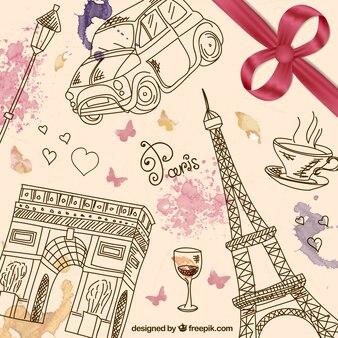 Hand gezeichnet paris Hintergrund