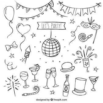 Hand gezeichnet party elements