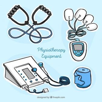 Hand gezeichnet physiotherapiegeräte