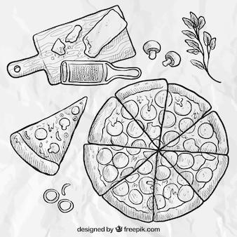 Hand gezeichnet pizza
