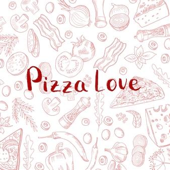 Hand gezeichnet, pizzaelementmuster mit beschriftung kochend