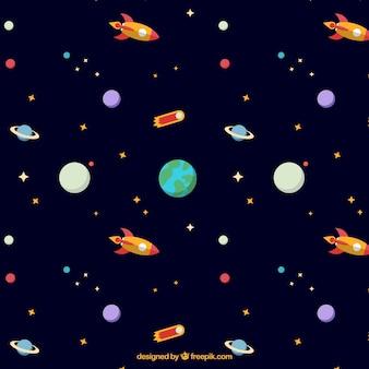 Hand gezeichnet planeten und erde muster