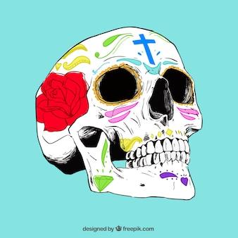 Hand gezeichnet realistische mexikanischen schädel
