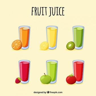Hand gezeichnet refleshing fruchtsäfte
