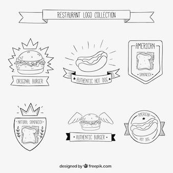 Hand gezeichnet restaurant-zeichen-ansammlung