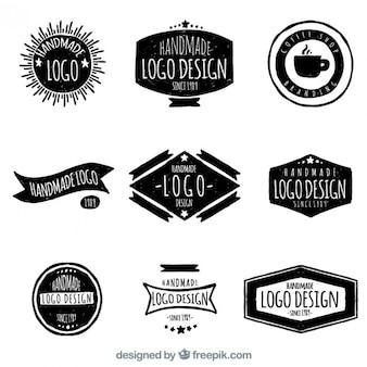Hand gezeichnet retro-logos