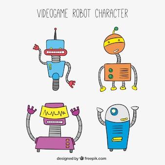 Hand gezeichnet roboter gesetzt
