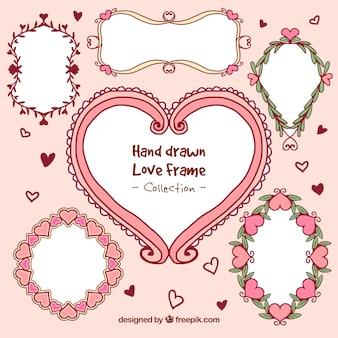 Hand gezeichnet romantischen rahmen set