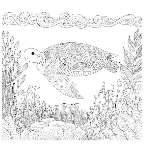 Hand gezeichnet schildkröte hintergrund
