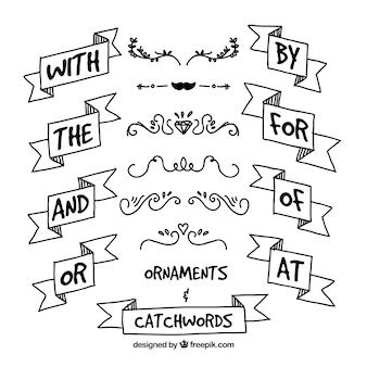Hand gezeichnet schlagworten mit bändern und ornamenten