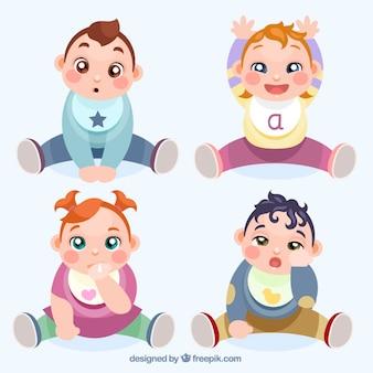 Hand gezeichnet schöne babys warten essen