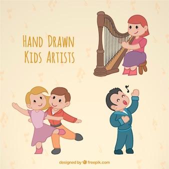 Hand gezeichnet schöne künstlerische kinder