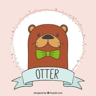 Hand gezeichnet schöne otter mit einem grünen bogen