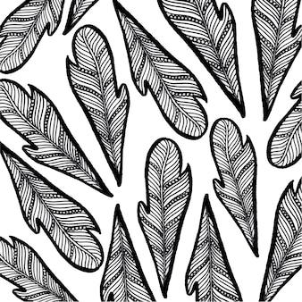Hand gezeichnet schwarz-weiß-feder hintergrund