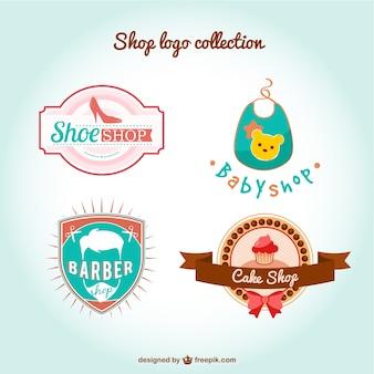 Hand gezeichnet shop-logo-sammlung