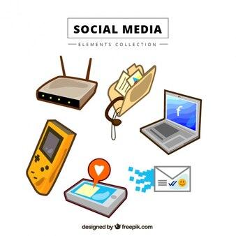 Hand gezeichnet social-media-elemente