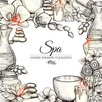 Hand gezeichnet spa-rahmen
