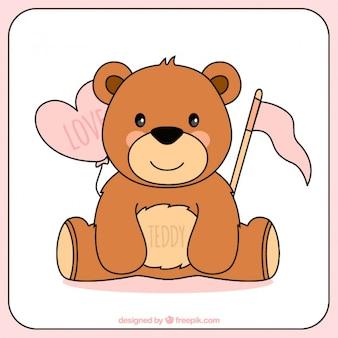Hand gezeichnet teddybär für valentinstag