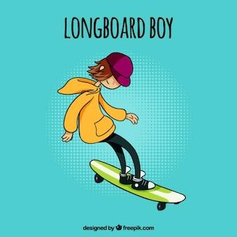Hand gezeichnet teenager praktizieren sport mit seinem skateboard