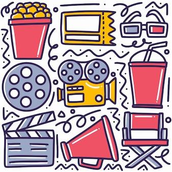 Hand gezeichnet über kino gekritzel gesetzt mit ikonen und gestaltungselementen
