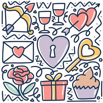 Hand gezeichnet über liebeskritzelsatz mit ikonen und gestaltungselementen