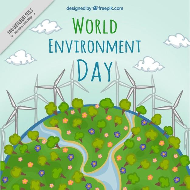 Hand gezeichnet umwelt mit erneuerbarer energie hintergrund