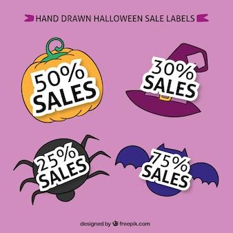 Hand gezeichnet verkauf aufkleber halloween